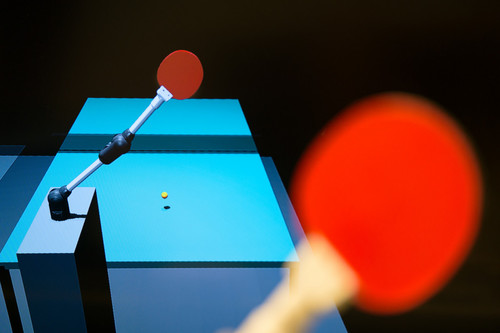 Learning to Play Table Tennis From Scratch using Muscular Robots